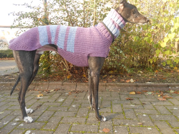 Example of a striped jumper - in dusky mauve and dusky blue